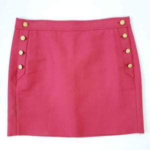 J. Crew Red Pencil Skirt Anchor Nautical Buttons 4